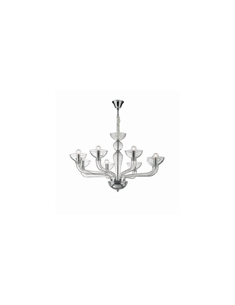 IDEAL LUX: Lampadario sospensione vetro soffiato Casanova sp8 trasparente in offerta