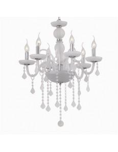 IDEAL LUX PRONTA CONSEGNA: Giudecca sp6 lampadario in vetro bianco pendagli cristallo molato 6 luci