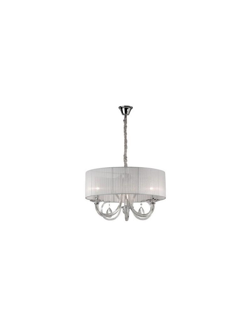 IDEAL LUX: Swan sp3 lampadario paralume organza corpo luce in vetro 3 luci in offerta