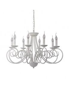 sem 8 bracci lampadario metallo modellato artiginale satinato