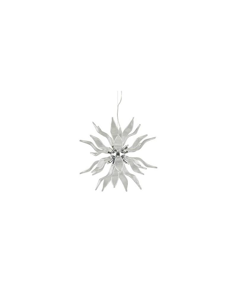 leaves sospensione 8 luci con elementi decorativi in vetro soffiato