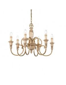 IDEAL LUX PRONTA CONSEGNA: Palio sp6 lampadario effetto legno ruggine 6 luci in offerta