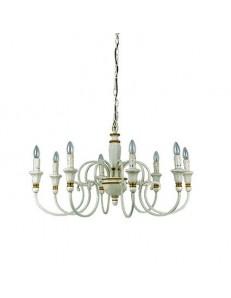 Palio sp8 lampadario effetto legno bianco e oro 8 luci