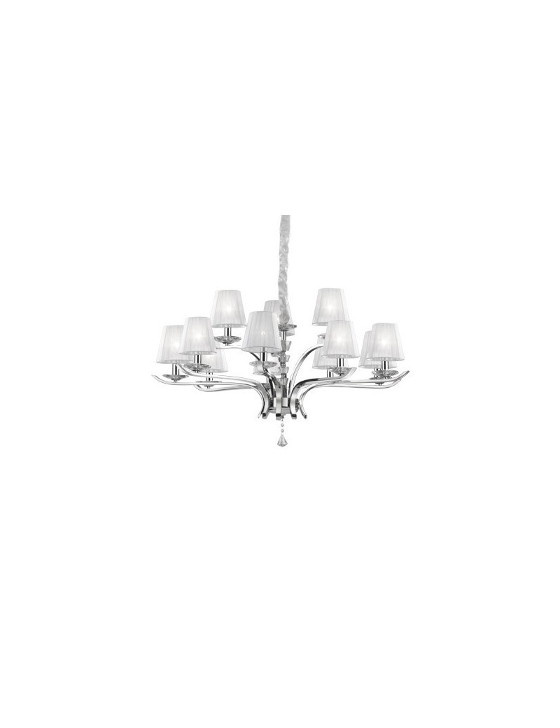 IDEAL LUX: Pegaso sp12 lampadario bobeches e pendagli in cristallo molato paralumi organza in