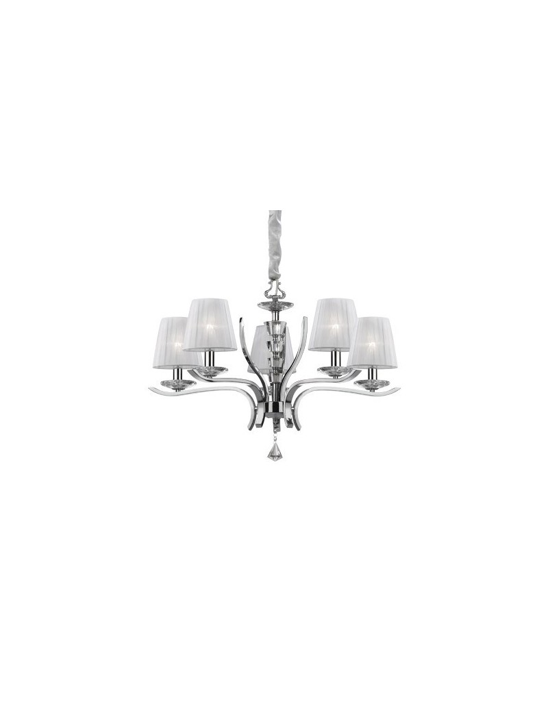 IDEAL LUX: Pegaso sp5 lampadario bobeches e pendagli in cristallo molato paralumi organza in offerta