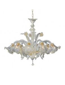Rialto sp8 lampadario vetro trasparete e ambra ideal lux 8 luci