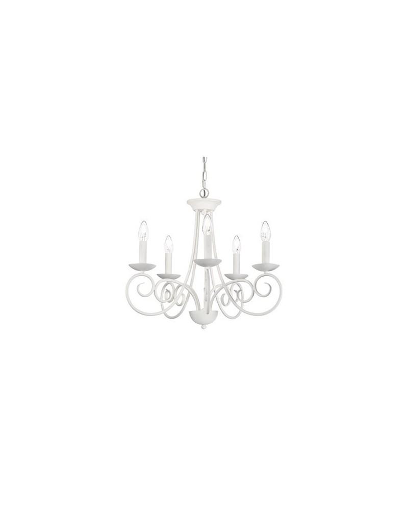 IDEAL LUX: Sem 5 bracci lampadario metallo modellato artigianale satinato in offerta