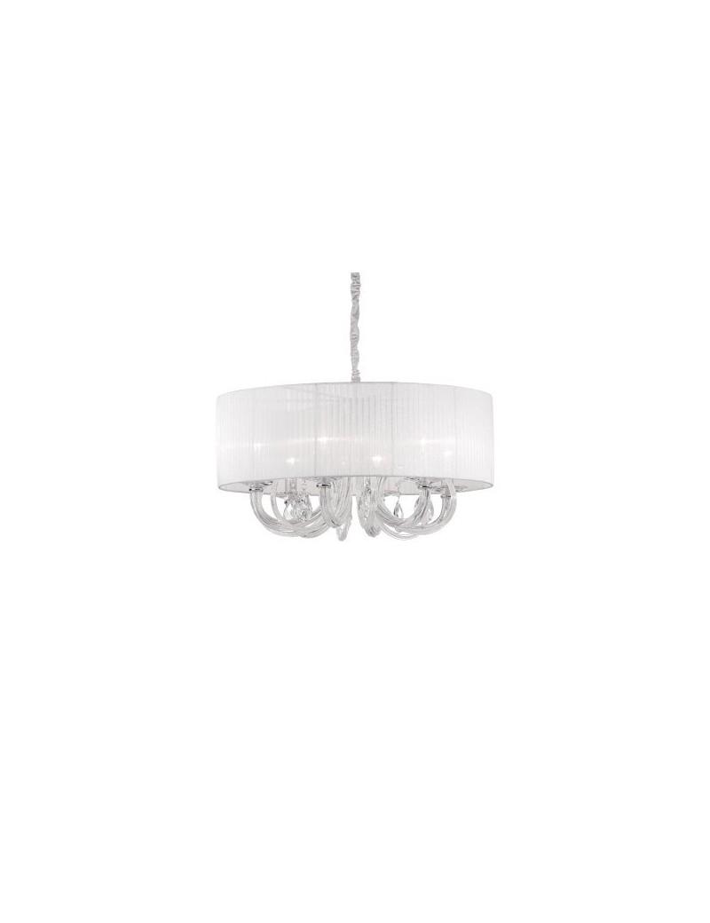 IDEAL LUX: Swan sp6 lampadario paralume organza corpo luce in vetro 6 luci in offerta