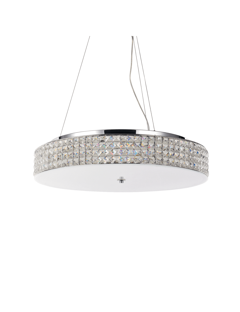 IDEAL LUX: Roma 12 luci cromo elementi quadrati in cristallo e vetro sabbiato in offerta