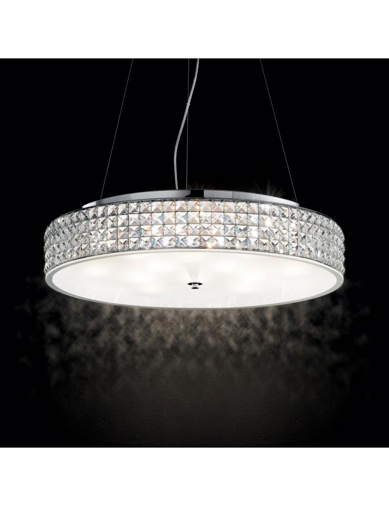 IDEAL LUX: Roma 9 luci cromo elementi quadrati in cristallo e vetro sabbiato in offerta