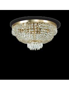 caesar pl6 oro lampadario in cristallo molato con pendenti 6 luci