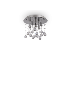 IDEAL LUX: Moonlight cromo 5 luci Lampada Da Soffitto Plafoniera ottagoni e sfere in cristallo in