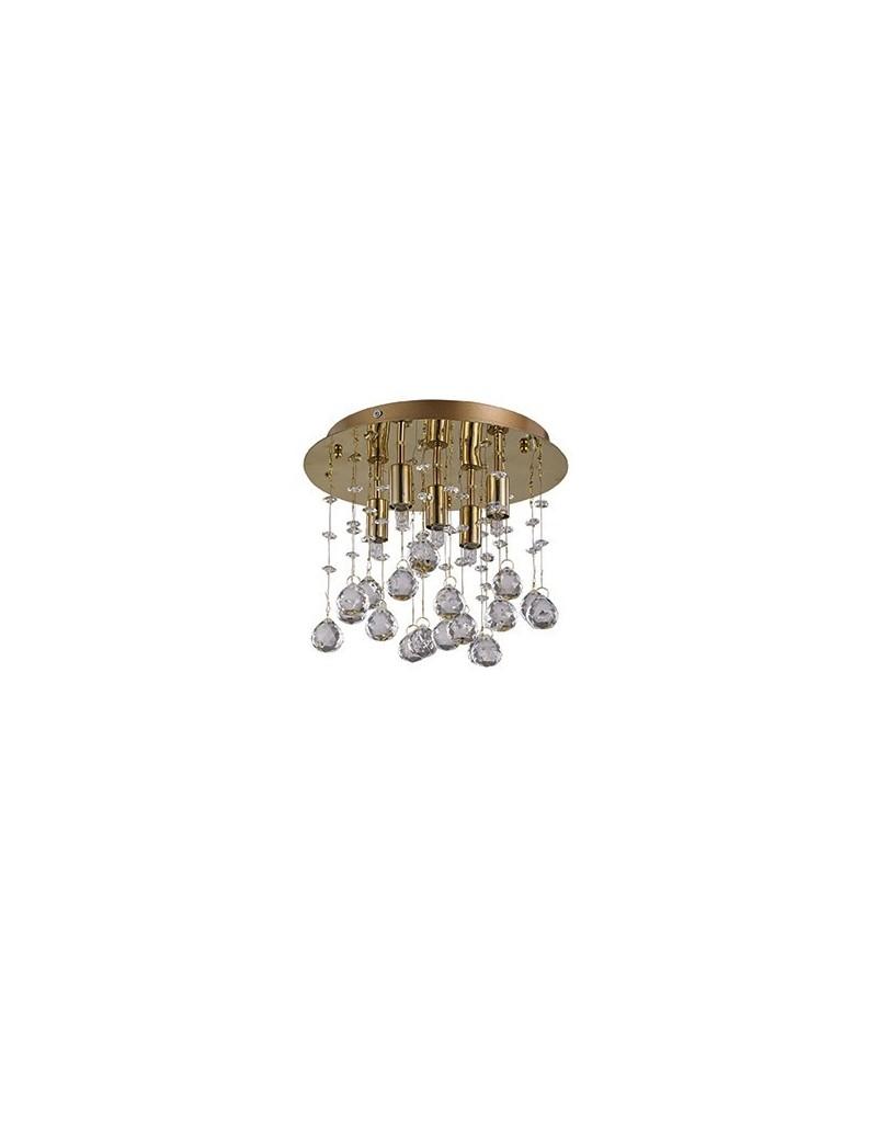 IDEAL LUX: Moonlight oro 5 luci Lampada Da Soffitto Plafoniera ottagoni e sfere in cristallo in
