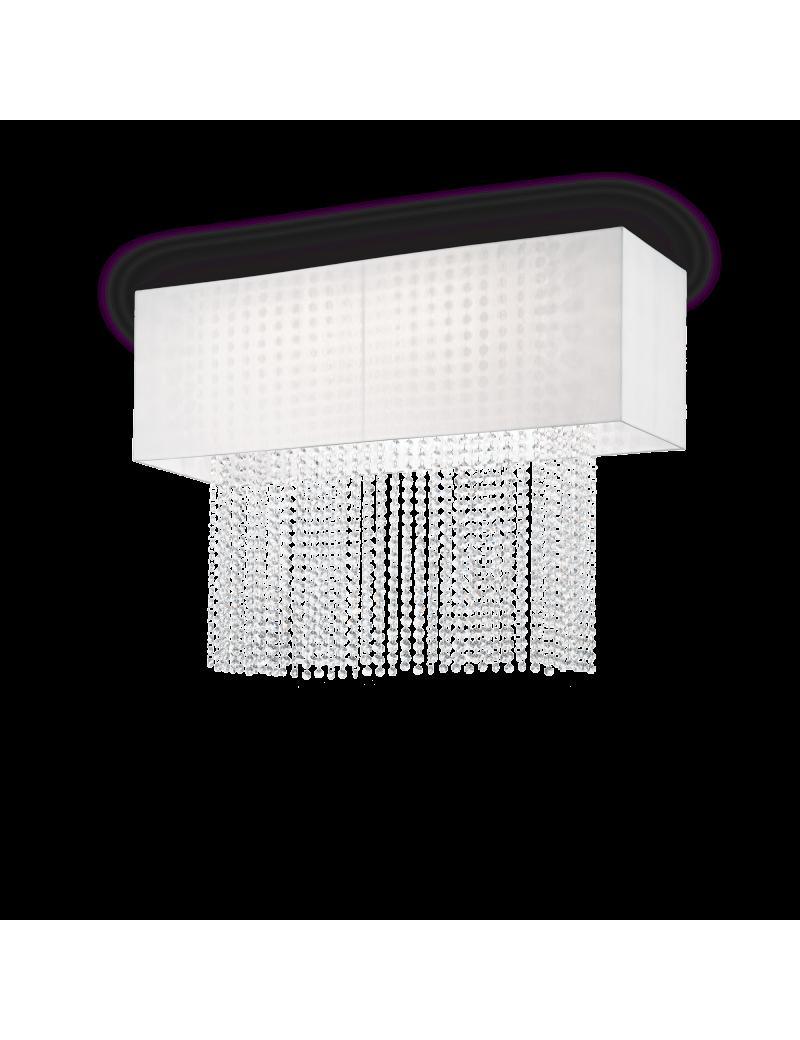 IDEAL LUX: Phoenix plafoniera 5 luci bianco catene in cristallo molato paralume tessuto in offerta