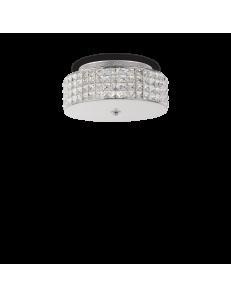 IDEAL LUX: Roma 4 luci plafoniera elementi quadrati in cristallo e vetro sabbiato in offerta