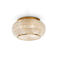 pasha oro lampada soffitto elegante diffusore perle di cristallo 6 luci