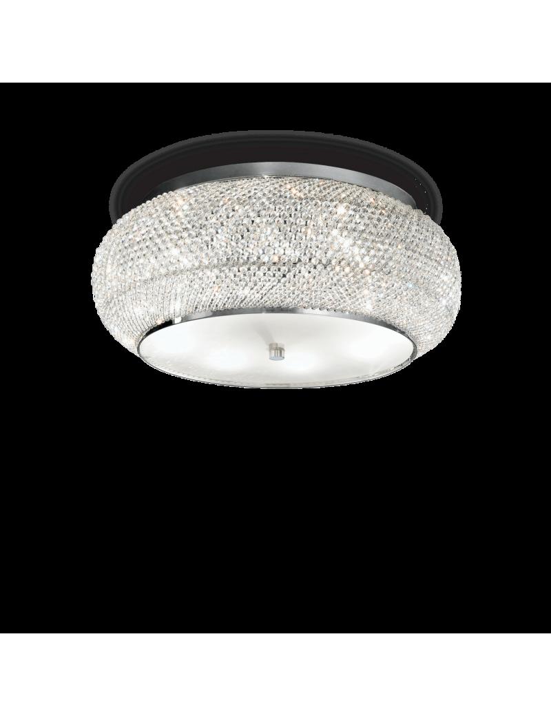 IDEAL LUX: Pasha cromo applique elegante diffusore perle di cristallo 3 luci in offerta