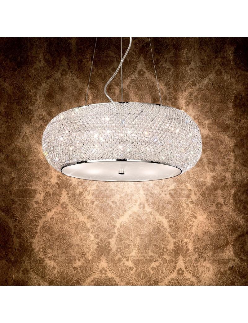 IDEAL LUX: Pasha cromo lampadario elegante diffusore perle di cristallo 10 luci in offerta