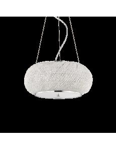 Idea Lux: Pasha cromo lampadario elegante diffusore perle di