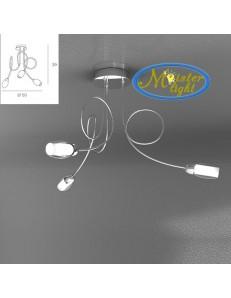 TOP LIGHT: Feeling plafoniera lampada cromo 3 luci vetro bianco in offerta