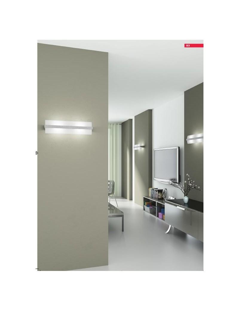 TOP LIGHT: Wood applique parete moderna vetro curvo foglia argento 25cm in offerta