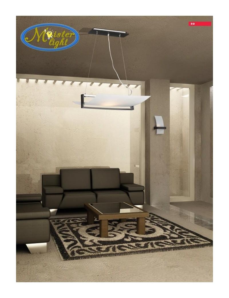 TOP LIGHT: Wood plafoniera lampada soffitto vetro curvo satinato foglia argento 40cm in offerta