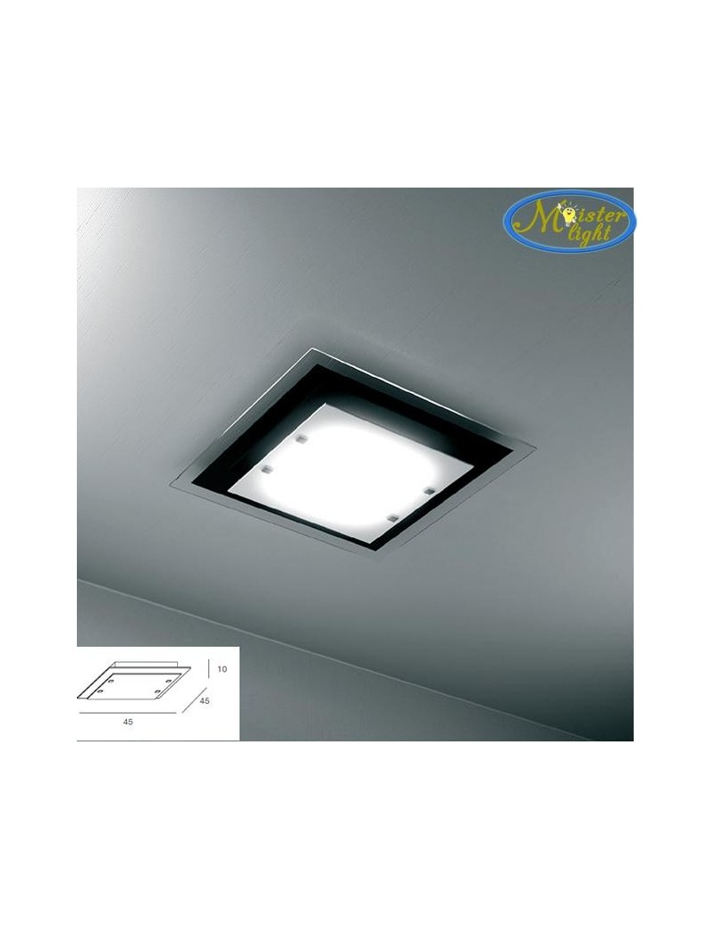 TOP LIGHT: Tray plafoniera media soffitto in vetro extrachiaro montatura metallo nera in offerta