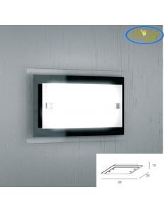Tray nera applique media parete in vetro extrachiaro montatura metallo