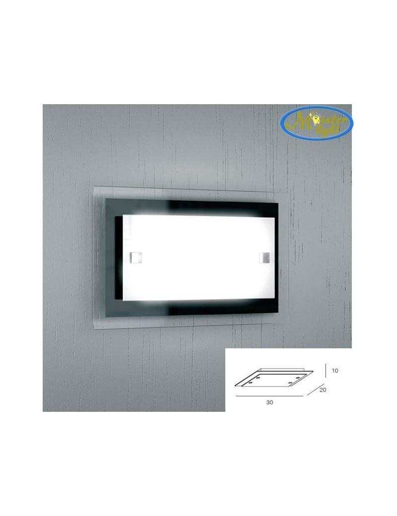 TOP LIGHT: Tray nera applique media parete in vetro extrachiaro montatura metallo in offerta