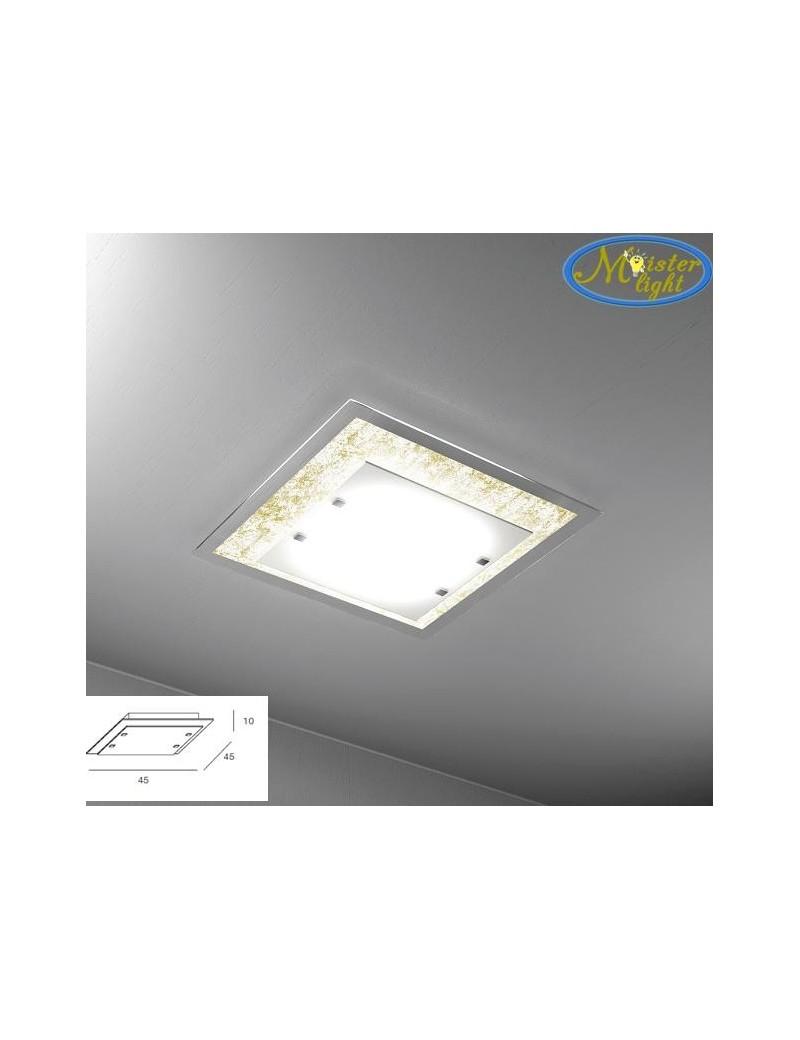 TOP LIGHT: Tray foglia oro plafoniera media soffitto in vetro extrachiaro montatura metallo in