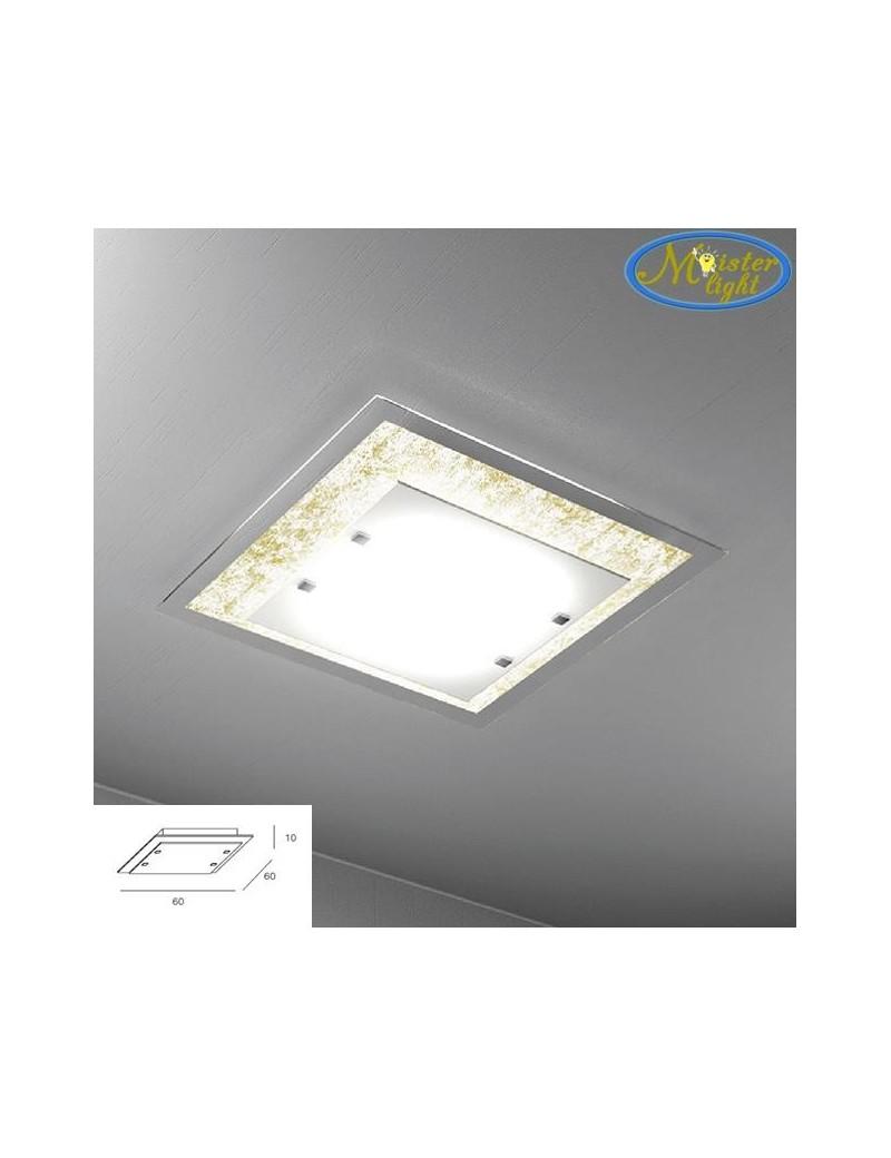 TOP LIGHT: Tray foglia oro plafoniera grande soffitto in vetro extrachiaro montatura metallo in