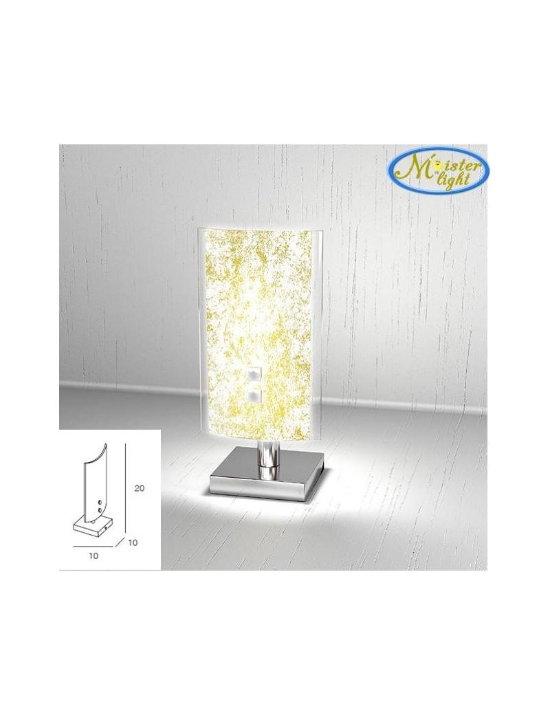 TOP LIGHT: Tray foglia oro lume lumetto in vetro extrachiaro montatura metallo in offerta