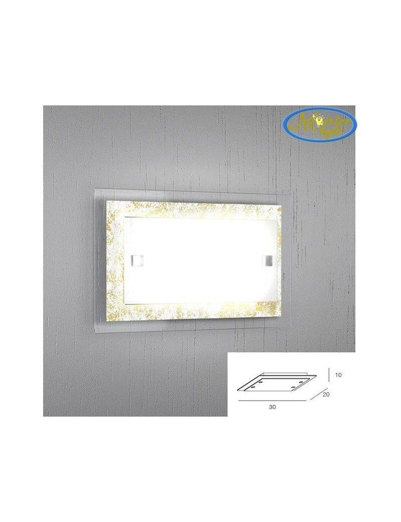 TOP LIGHT: Tray foglia oro applique media parete in vetro extrachiaro montatura metallo in offerta