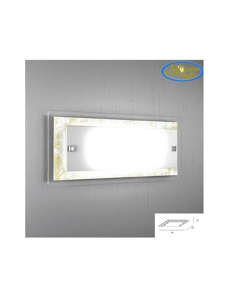 TOP LIGHT: Tray foglia oro applique grande parete in vetro extrachiaro montatura metallo in offerta