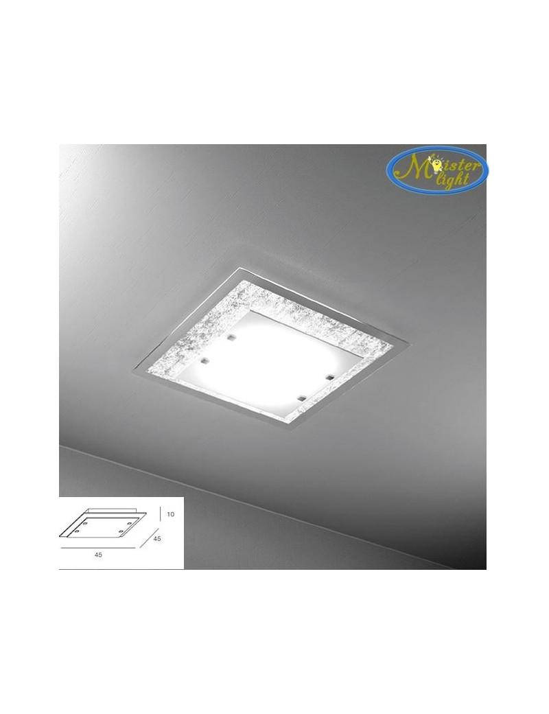 TOP LIGHT: Tray foglia argento plafoniera media soffitto in vetro extrachiaro montatura metallo in