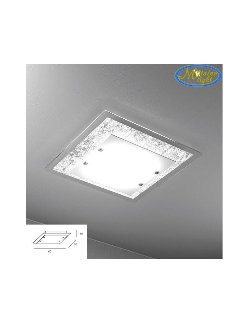 TOP LIGHT: Tray foglia argento plafoniera grande soffitto in vetro extrachiaro montatura metallo in