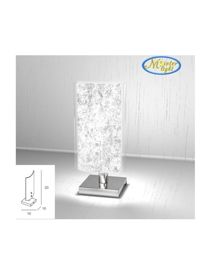 TOP LIGHT: Tray foglia argento lumetto in vetro extrachiaro montatura metallo in offerta