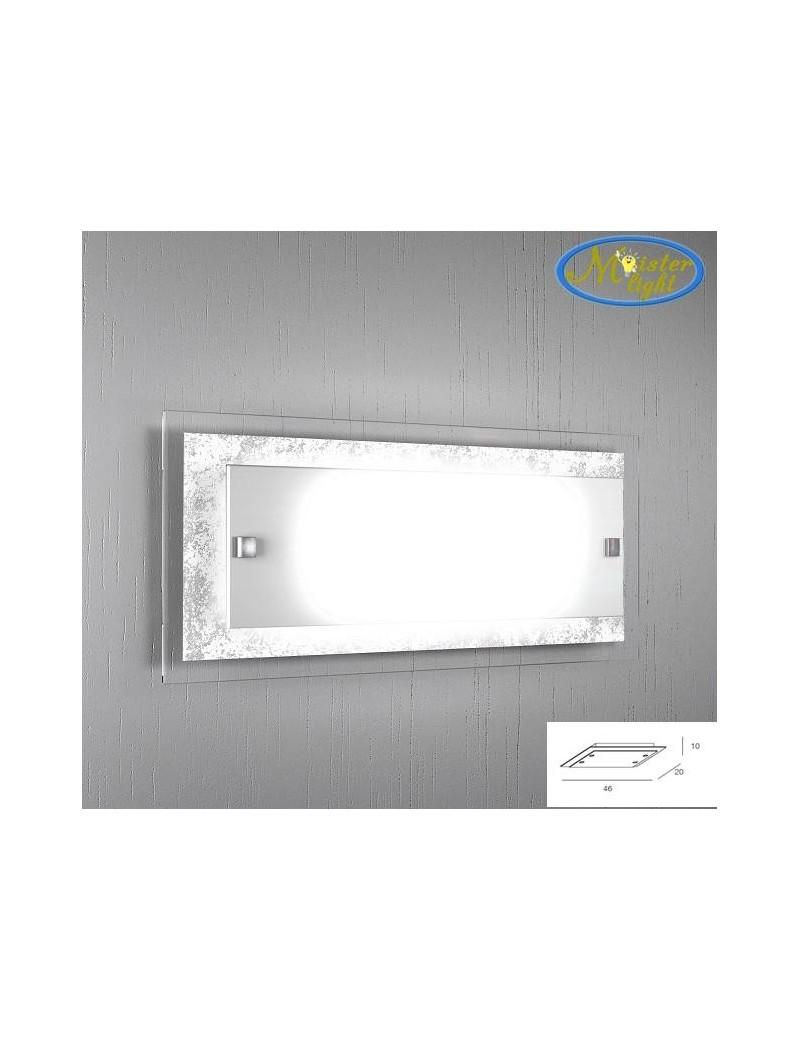 TOP LIGHT: Tray foglia argento applique parete in vetro extrachiaro montatura metallo in offerta