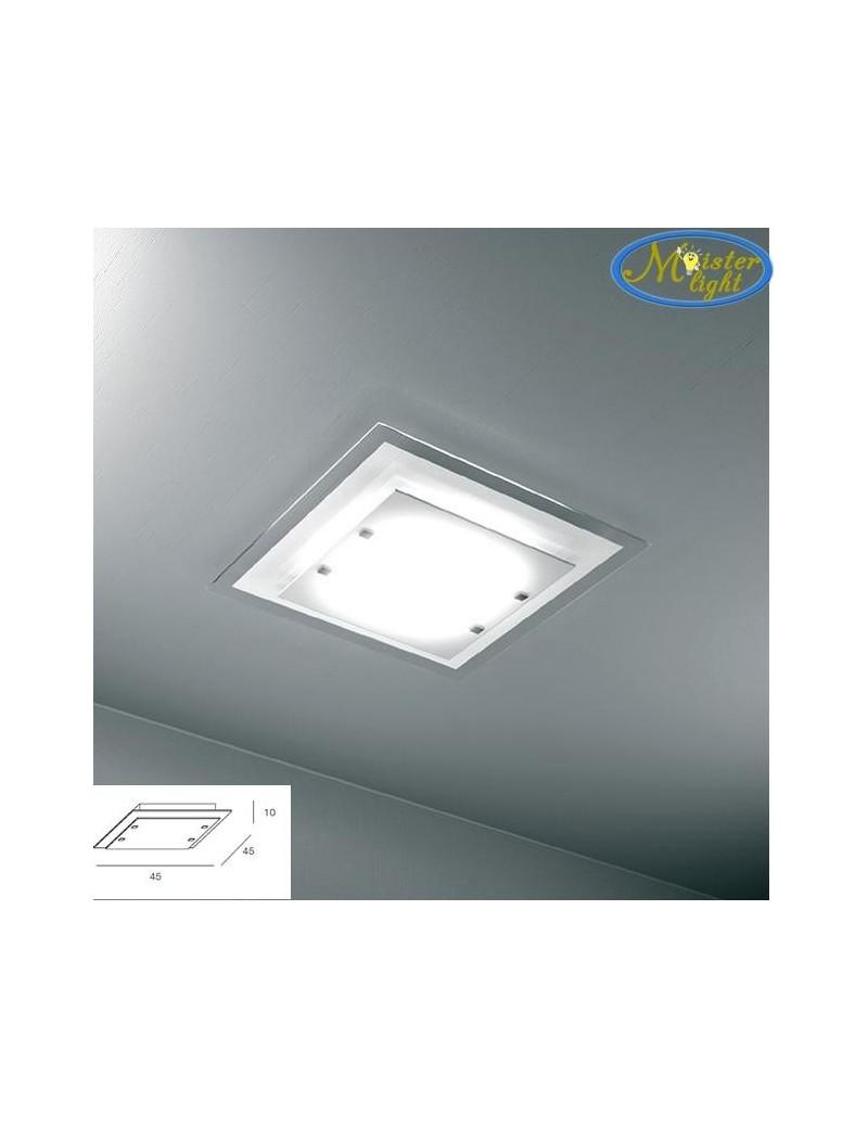 TOP LIGHT: Tray bianca plafoniera media soffitto in vetro extrachiaro montatura metallo in offerta