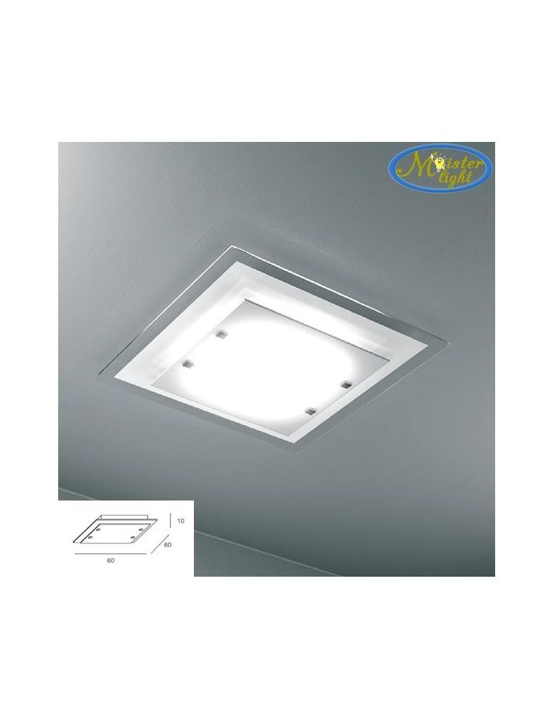 TOP LIGHT: Tray plafoniera soffitto grande in vetro extrachiaro montatura metallo bianca in offerta