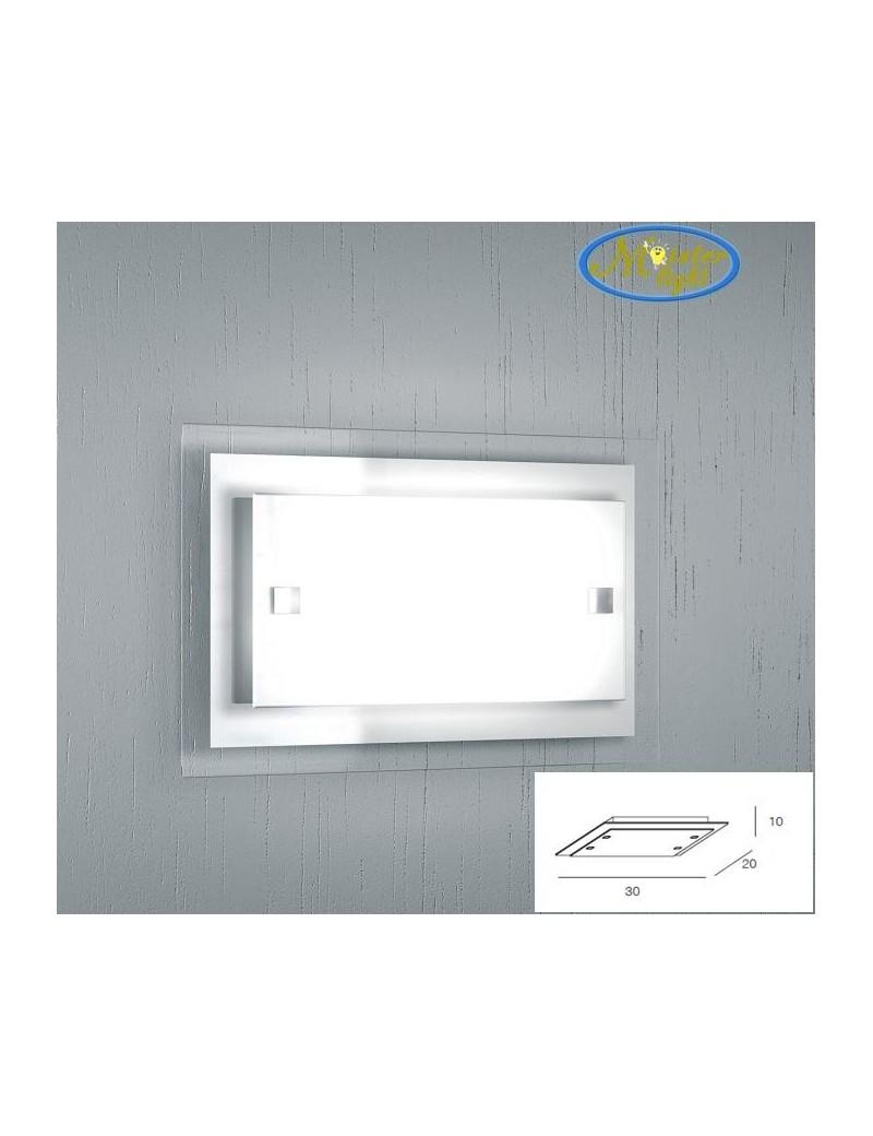 TOP LIGHT: Tray bianca applique media parete in vetro extrachiaro montatura metallo in offerta