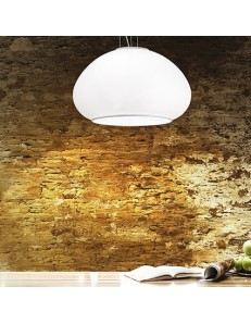 IDEAL LUX: Mama sp1 d40 lampadario sospensione vetro bianco cucina in offerta