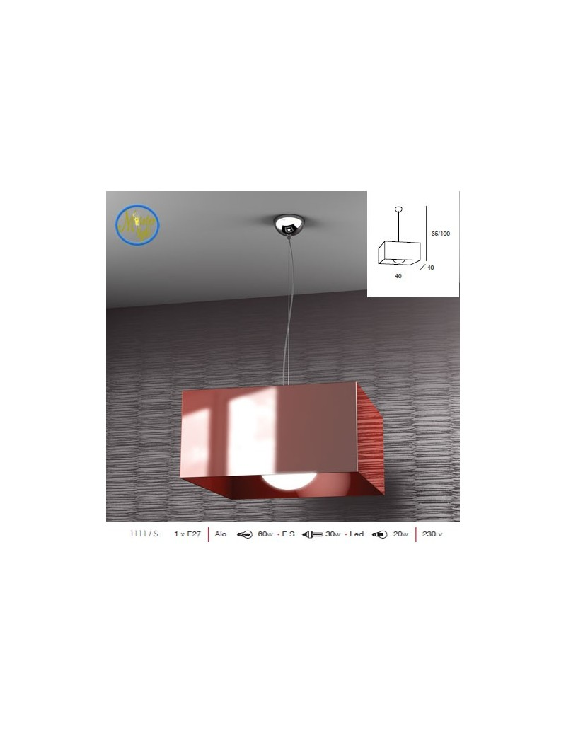 TOP LIGHT: Lift sospensione quadrata rosso top light moderno struttura cromo in offerta