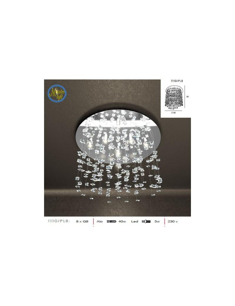TOP LIGHT: Flare plafoniera piccola con cristalli pendenti di diverse dimensioni effetto neve in