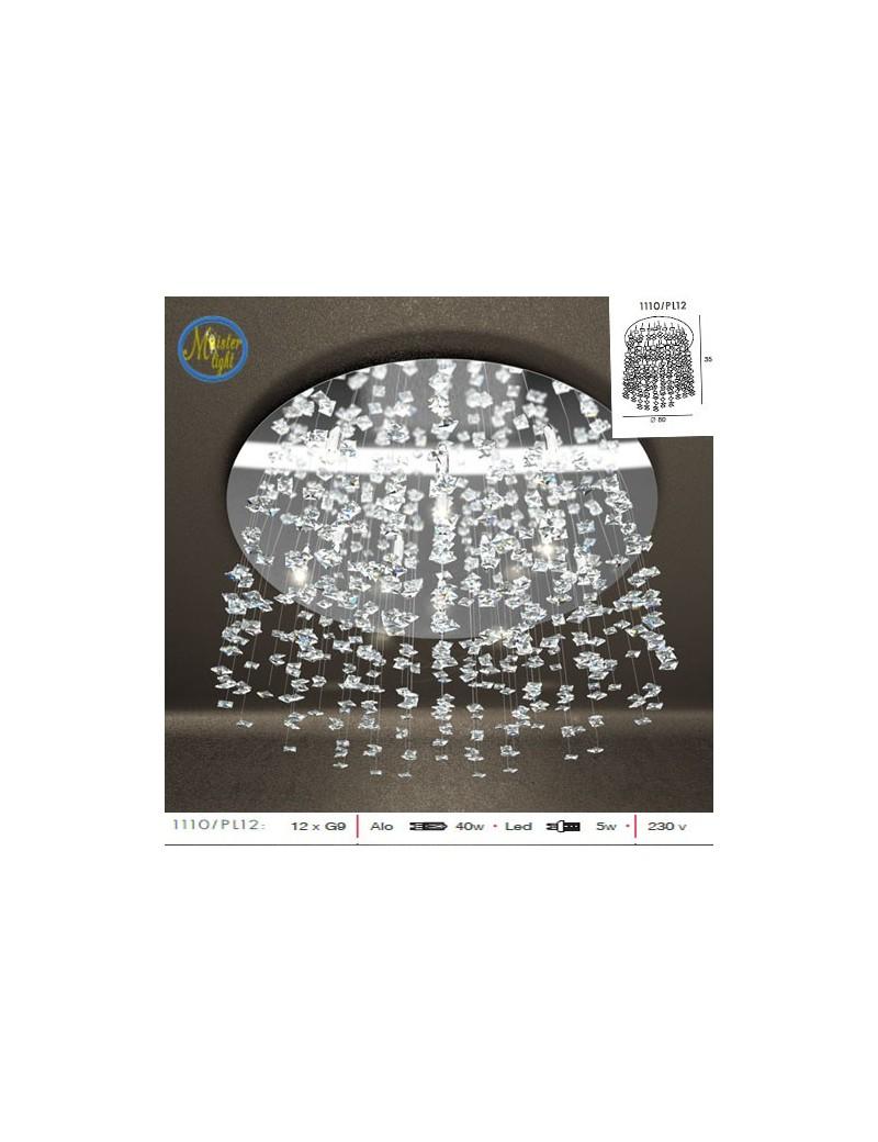 TOP LIGHT: Flare plafoniera grande con cristalli pendenti di diverse dimensioni effetto neve in