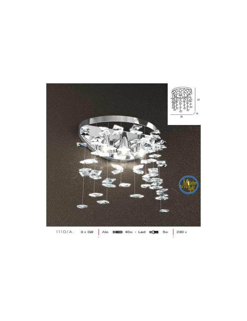 TOP LIGHT: Flare applique elegante con cristalli pendenti in offerta