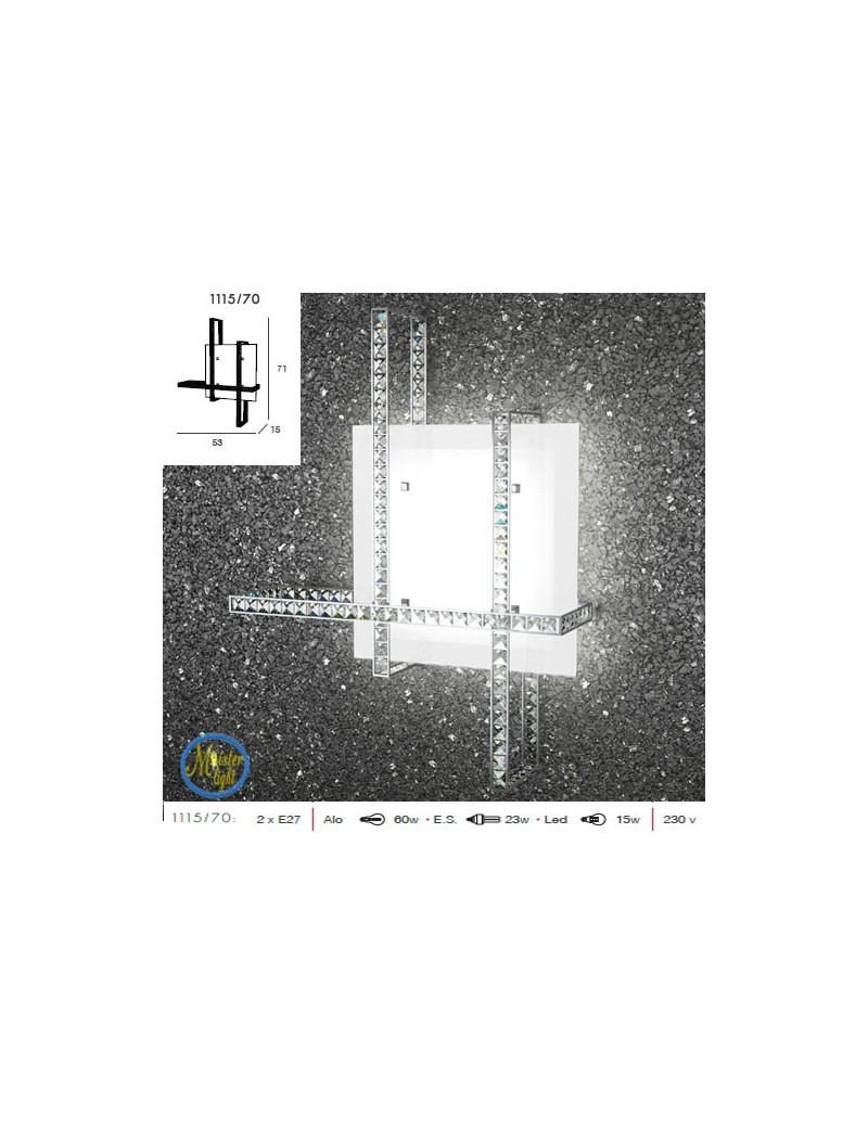 TOP LIGHT: String applique plafoniera bianco vetro satinato strisce di cristallo quadrato molato in