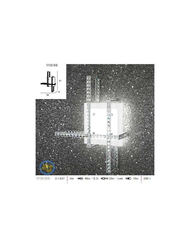 TOP LIGHT: String applique in metallo vetro satinato strisce di cristallo quadrato molato in offerta