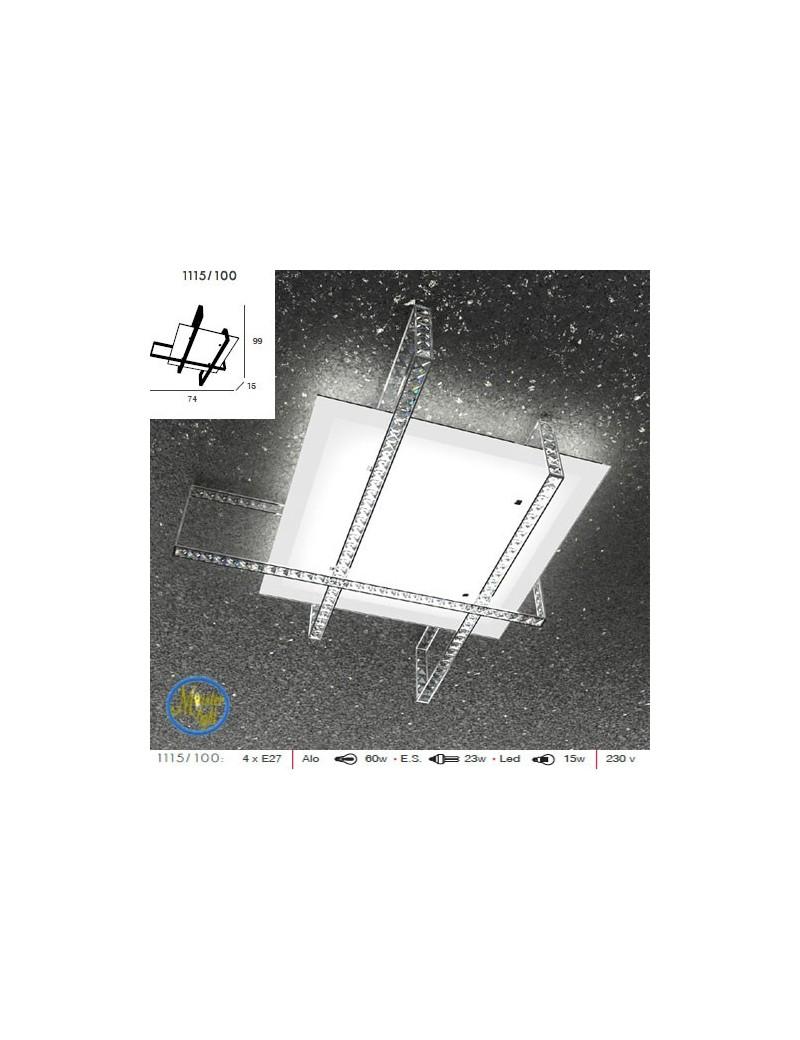 TOP LIGHT: String plafoniera in metallo vetro satinato strisce di cristallo quadrato molato in