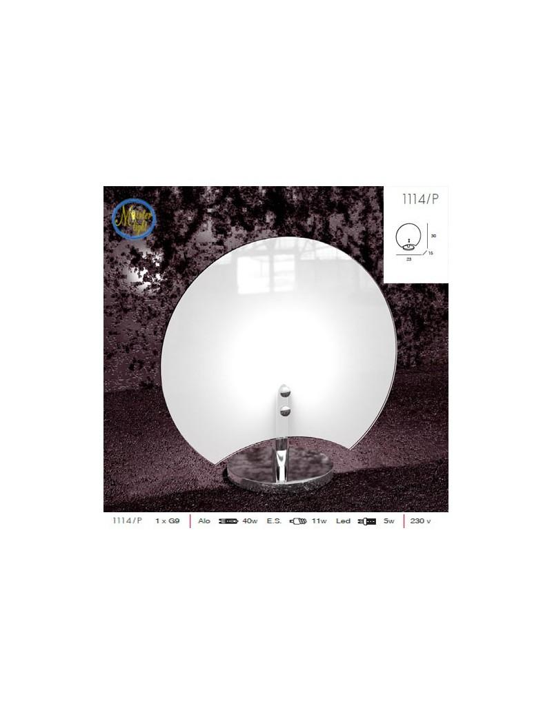 TOP LIGHT: Clover lume mezzaluna bianco vetro serigrafato montatura cromo in offerta